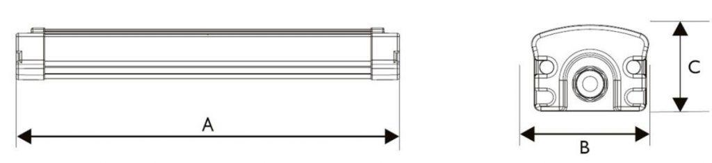 E Series led tri-proof light Dimension